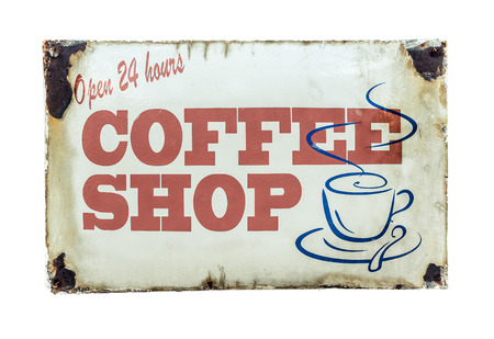 coffee hour: Isolated Retro Vintage Coffee Shop Sign For 24 Hour Diner Stock Photo