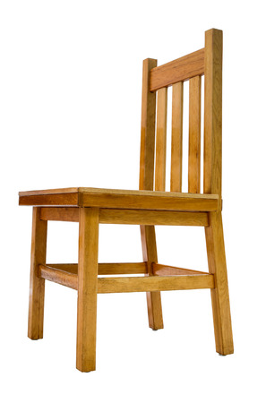 Isolated Image Of A Simple Kitchen Wooden Pine Chair Stock Photo   31645142
