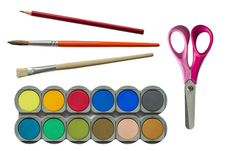 Collection Of Isolated Childrens Back To School Stationary And Paints photo
