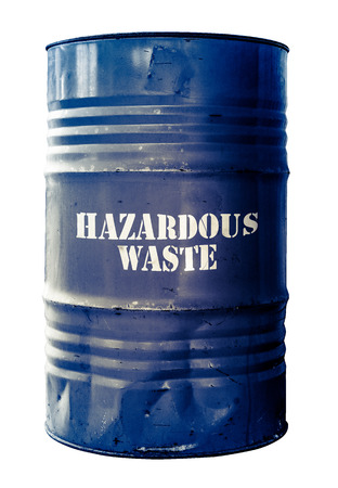 chemical hazard: Grungy Isolated Drum Or Barrel Of hazardous Waste Stock Photo