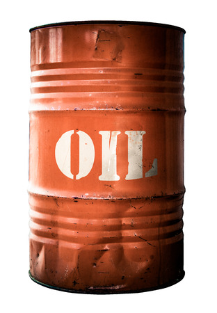 Isolated Grungy Orange Oil Drum Or Barrel