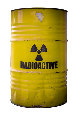 Grungy Barrel Or Drum Of Radioactive Nuclear Waste Isolated On White photo