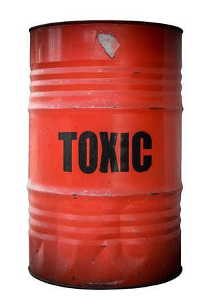 A Grunge Red Barrel Or Drum Filled With Toxic Waste photo