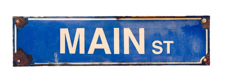 main: Isolated Grungy Blue VIntage Main Street USA Sign Stock Photo