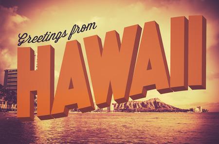 Postal del vintage de estilo retro con Saludos de Hawaii