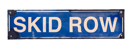 no skid: Isolated Grungy Blue Vintage Skid Row Street Sign