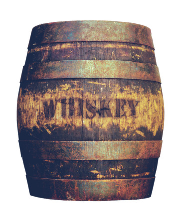 Isolated Vintage Grungy Old Wooden Cask Or Barrel Of American Whiskey