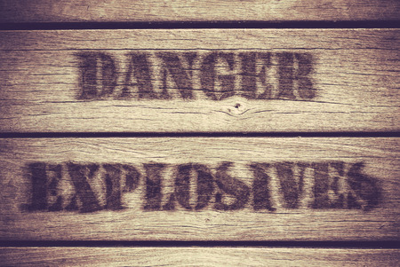 explosives: A Retro Grungy Crate Labelled With Danger Explosives Stock Photo