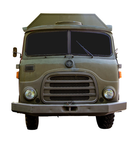 wartime: Isolated Vintage War-Time Army Truck WIth Clipping Path