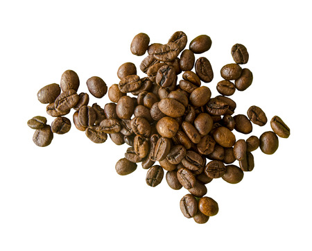 Isolation of Fair Trade Organic Coffee Beans On A White Background photo