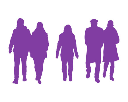 couple together: Vector Silhouette Of A Group Of People  Walking In Winter Clothing Stock Photo