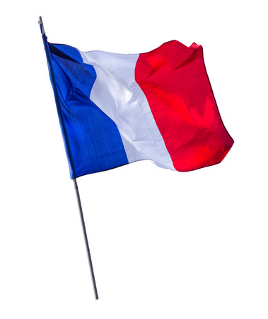 Isolated French Flag On A Pole 版權商用圖片 - 35611622