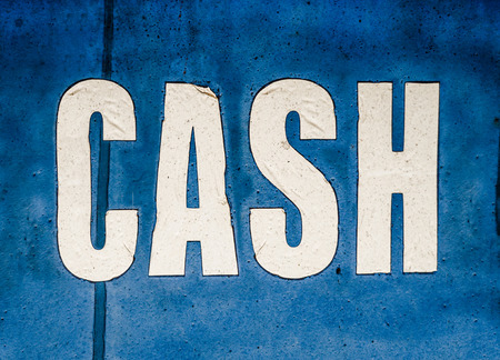 cashing: Recession Image Of A Grungy Cash Sign At A Check Cashing Store