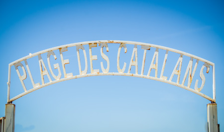 plage: Rustic Sign At Plage des Catalans In Marseille, South France