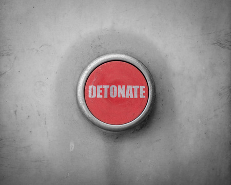 destruct: A Retro Filtered Image Of A Red Detonate Button Stock Photo