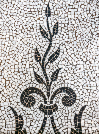 mosaic floor: Background Pattern Of Ancient Mosaic Tiles Depicting A Plant Of Vine Stock Photo
