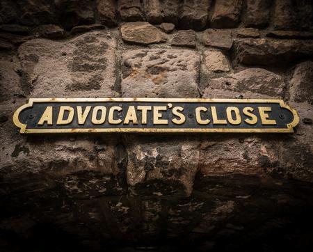 symbol british: Travel Image Of An Old Sign For Advocates Close In Edinburgh, Scotland, UK