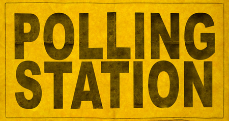 polling station: A Polling Station Sign For An Election Stock Photo