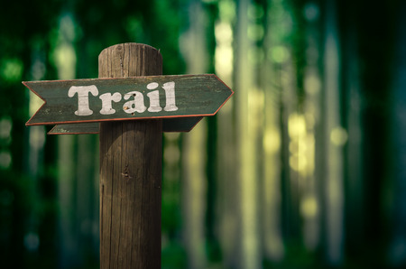 old sign: Wooden Trail Sign In A Forest For Hikers