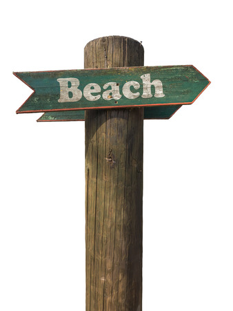 Isolated Wooden Sign Pointing To The Beach With White Background Banco de Imagens