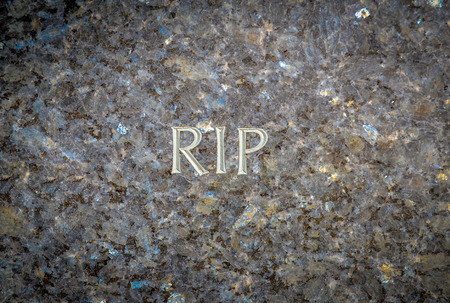rest in peace: Rest In Peace (RIP) Chiselled Into A Marble Grave In A Cemetery