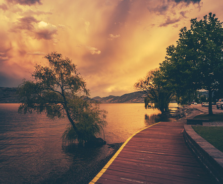 bc: The Beautiful Okanagan Lake From Peachland At Sunset Stock Photo