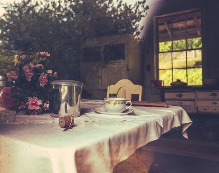 Rustic Farmhouse Kitchen Through Window (With Reflection) Stockfoto