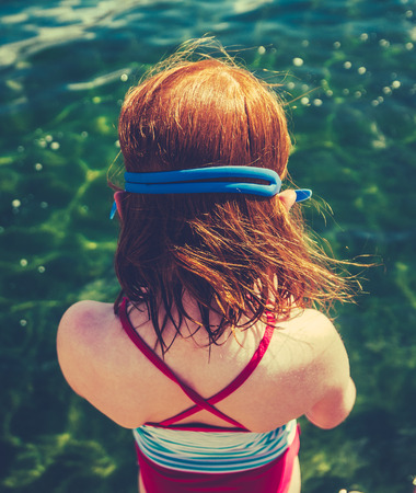 swimming costumes: Retro Filtered Girl About To Dive Into A Lake