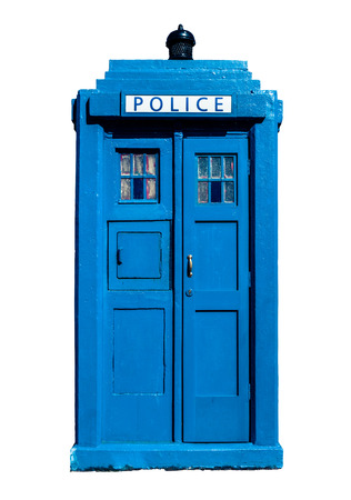 constabulary: Isolation Of A Traditional Blue British Police Box Stock Photo