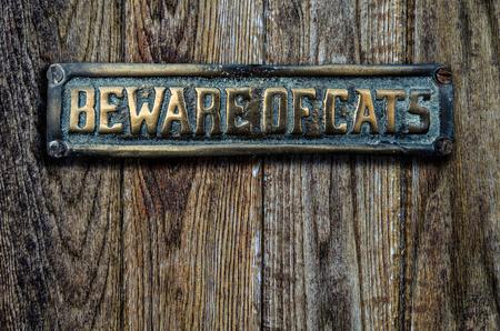 placa bacteriana: Ten cuidado con los gatos signo en una puerta de madera pesada