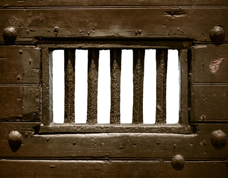 jail: Detail Of The Bars Of An Old Prison Or Jail Cell Door
