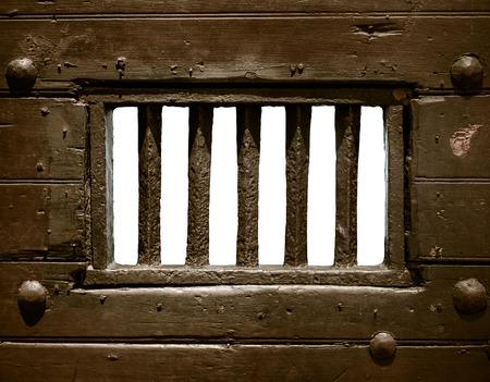prison: Detalle de las barras de la prisi�n vieja Una o puerta C�rcel Foto de archivo