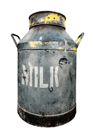 used: An Isolated Rustic Old Milk Churn Or Can