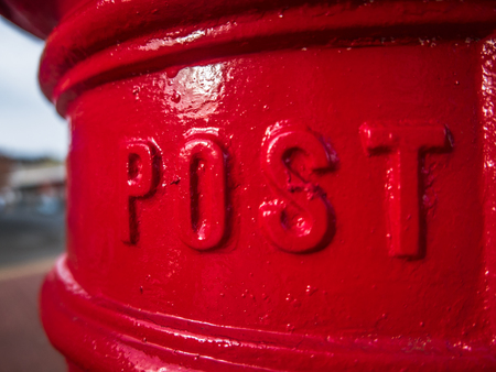 post mail: Detail Of A Traditional Red British Royal Mail Post Box