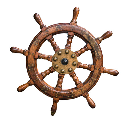 Isolated Vintage Wooden And Brass Ship's Steering Wheel With White Background Foto de archivo