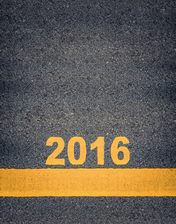 single line: Conceptual Image Of Year 2016 As Yellow Asphalt Road Markings With Single Line And Copy Space