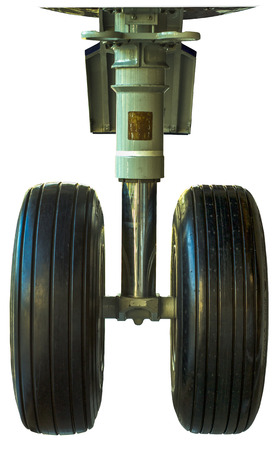 undercarriage: Isolated Image Of Airplane Wheels And Undercarriage