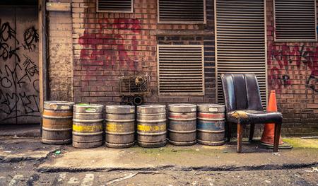 keg: Grungy Urban Image Of Beer Barrels In An Alleyway Behind A Bar Or Pub