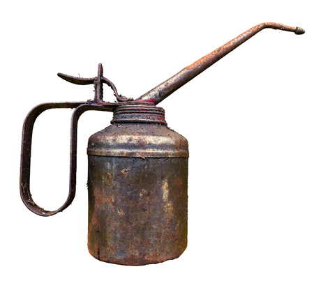 lubricator: An Isolated Vintage Grungy Rusty Oil Can Stock Photo