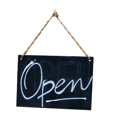 Isolated Rustic Hanging Blackboard Open Sign On A White Background 스톡 콘텐츠