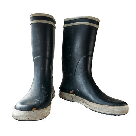 wellie: Isolated Black And White Rubber Or Wellington Boots On A White Background Stock Photo