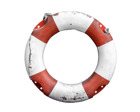 life preserver: Isolated Grungy Lifebuoy Or Life Preserver With Rope On White Background Stock Photo