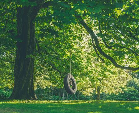 여름의 오후에 나무에서 매달려 타이어 스윙의 어린 시절 향수 이미지