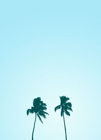 caribbean beach: Retro Style Design Of Two Isolated Palm Trees Silhouettes Against A Pale Blue Sky With Copy Space Stock Photo