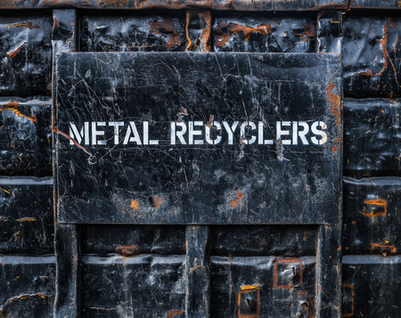 metal recycling: Environmental Image Of A In Industrial Metal Recycling Skip Or Dumpster Stock Photo