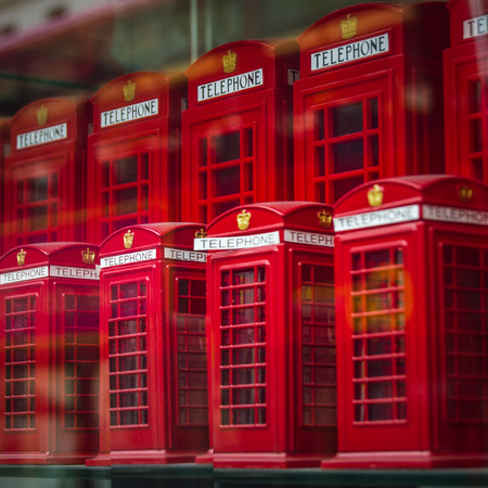 souvenirs: London, England Tourism Souvenirs Of Red Phone Boxes Editorial