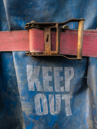 strap: Conceptual Image Of A Keep Out Sign On At A Construction Site