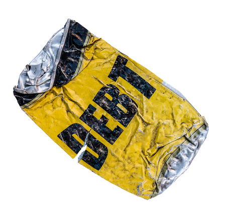 crushed aluminum cans: Isolated Yellow Crushed Can With Word Debt On White Background Stock Photo