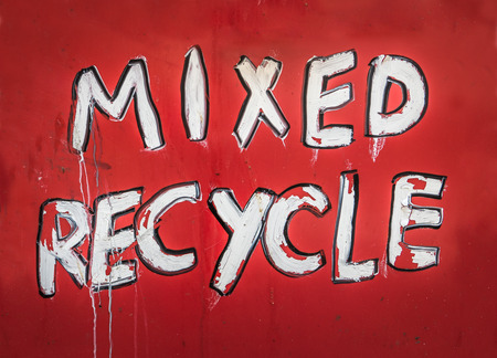 recycle sign: Grungy Red Painted Sign Saying Mixed Recycle Stock Photo
