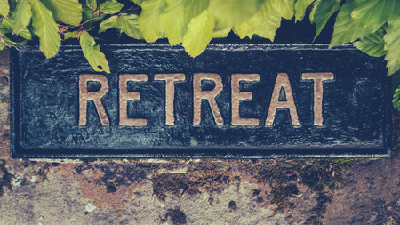 Retro Styled Image Of A Hidden Sign For A Spiritual Retreat Imagens - 60391326